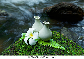 Alternative skin care homemade lotion and pumerlia flower on stone, green leaf with tropical waterfall in the background. as a spa concept.