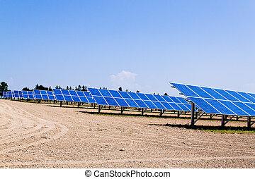 alternative, solaire, energy., puissance, plant.