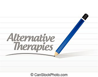 alternative therapies message sign illustration design over a white background