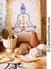 Tradicional alternative theraphy or medicine, also concept of healthy lifestyle, silhouette of man with chakras in the background.