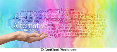 Alternative Therapy Word Cloud - Female hand held palm up...