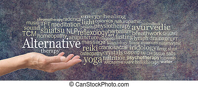 Alternative Therapy Word Cloud - female hand held palm up ...