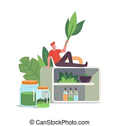 Alternative Traditional Medicine Concept. Tiny Male Character with Green Leaves Sitting on Huge Shelf with Various Flasks and Bottles with Natural Ingredients for Remedy. Cartoon Vector Illustration