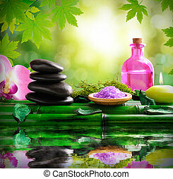 Alternative treatments of natural essences for body care square composition