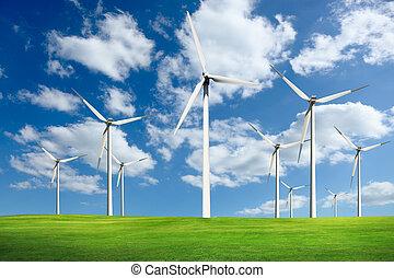 alternative, turbines, énergie, ferme vent