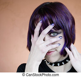 Alternative Young Woman with Purple Hair