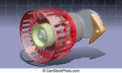 Alternator in an animated exploded drawing