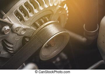 alternator, moteur, concept., automobile, ceinture, voiture, synchronisation, système, partie
