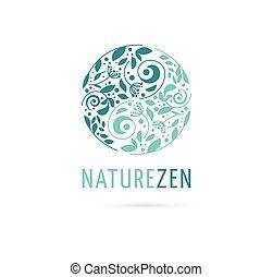 alternatywa, chińska medycyna, i, wellness, ziołowy, zen, rozmyślanie, pojęcie, -, wektor, yin yang, ikona, logo