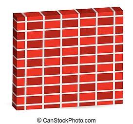 alterner, bricks., mur, modèle, editable, isolé, vector., brique, blanc, 3d