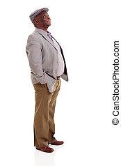 altes , amerikanischer afromann, oben schauen