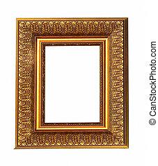 altes , antikes , gold, bilderrahmen, mit, a, dekoratives muster, freigestellt, aus, weißer hintergrund
