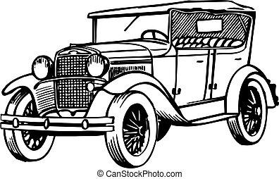 Auto Altes Altes Auto Freigestellt Hintergrund Weißes Nett