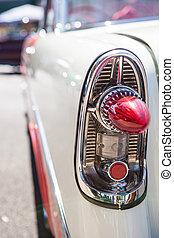 altes , auto, scheinwerfer, teil, weiß rot