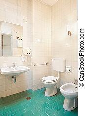 altes , badezimmer, mit, grün, boden