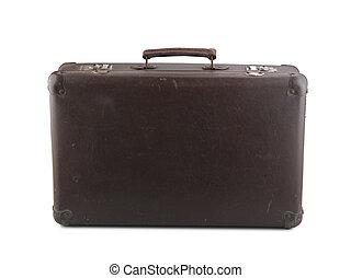 altes , brauner, koffer, freigestellt, weiß