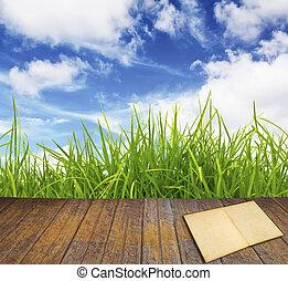 altes , buch, auf, hölzerner fußboden, mit, grünes gras, blau, sky.