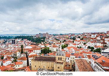 altes , dächer, aus, portuga, coimbra, coimbra, cityscape, kathedrale