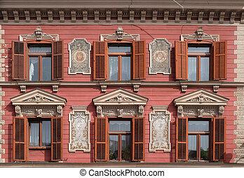 altes , dekoriert, haus, fassade, windows, in, altes ,...