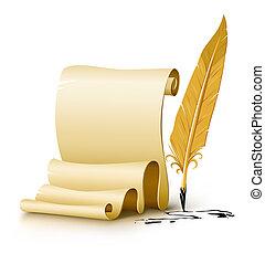 altes , drehbuch, leer, stift, papier, schreibfedern