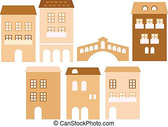 altes , europäische , stadt, häusser, freigestellt, weiß, (, beige, )