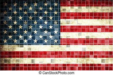 altes, Fahne, effekt, amerikanische,  retro, hintergrund