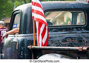 altes, festumzug, ansteigen, Fahne, lastwagen, viert, amerikanische, Juli