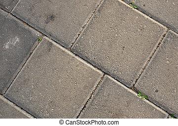 altes , fliesenmuster, auf, asphalt, grünes gras, grows, zwischen, der, clefts.