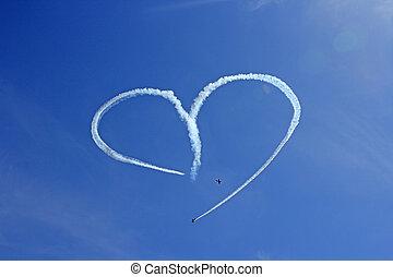 altes flugzeug, luftwerbung, romantische , herz- form