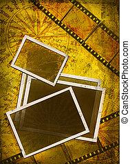 altes , fotos, und, film, auf, nautisch, hintergrund
