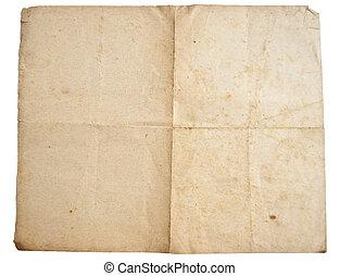 altes , freigestellt, papier, hintergrund, blatt, weißes