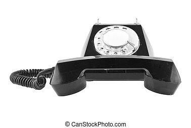 altes , freigestellt, telefon, schwarzer hintergrund, weißes