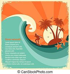 altes , große welle, tropische , papier, meer, insel, surfer