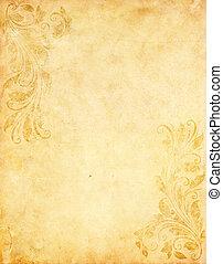 altes , grunge, papier, hintergrund, mit, weinlese, viktorianischer stil