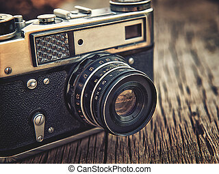 altes , hölzern, alte kamera, closeup, hintergrund