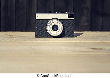 altes , hölzern, alte kamera, hintergrund, gefiltert
