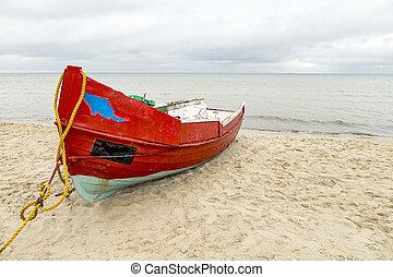 altes , hölzern, fishermens, schiff, strand
