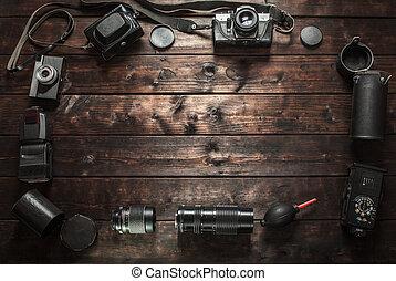altes , hölzern, fotoapperat, retro, hintergrund, tisch