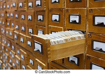 altes , hölzern, karte, katalog, mit, eins, geöffnet,...