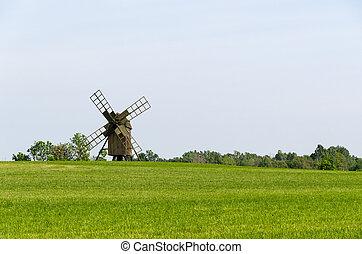 altes , hölzern, windmühle, in, a, feld