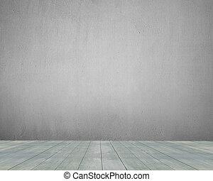 altes , hölzerner stock, mit, betonwand, innen, hintergrund