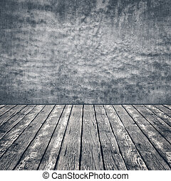 altes , hölzerner stock, und, betonwand, abstrakt, hintergruende, mit, kopieren platz, für, dein, design