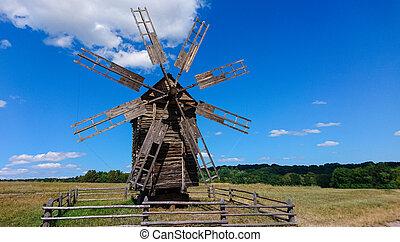 altes , historisch, hölzern, windmühle, in, a, feld