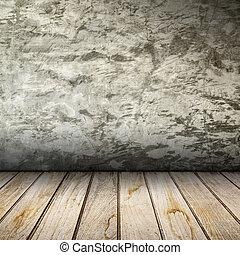 altes , inneneinrichtung, mit, betonwand, und, hölzern, floor.
