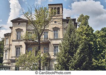 altes , landhaus, berlin, kreuzberg, grungy, gefunden