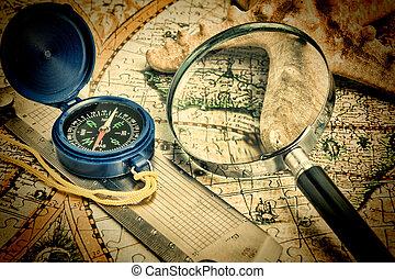 altes , landkarte, und, seestern