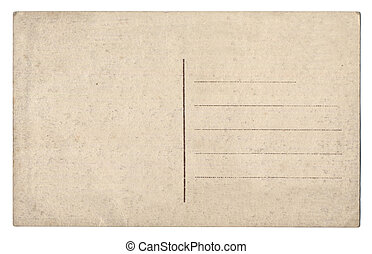 altes , leerer , postkarte, freigestellt, weiß