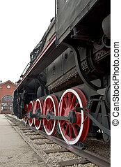 altes , lok, räder, schließen, auf., dampf, train.