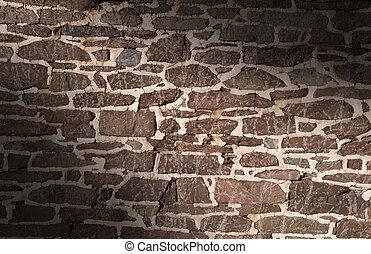 altes , mauerwerk, gebrauchend, lit, wand, diagonal, unregelmäßig, steine