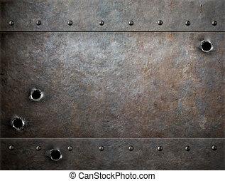 altes , metall, hintergrund, mit, einschüsse